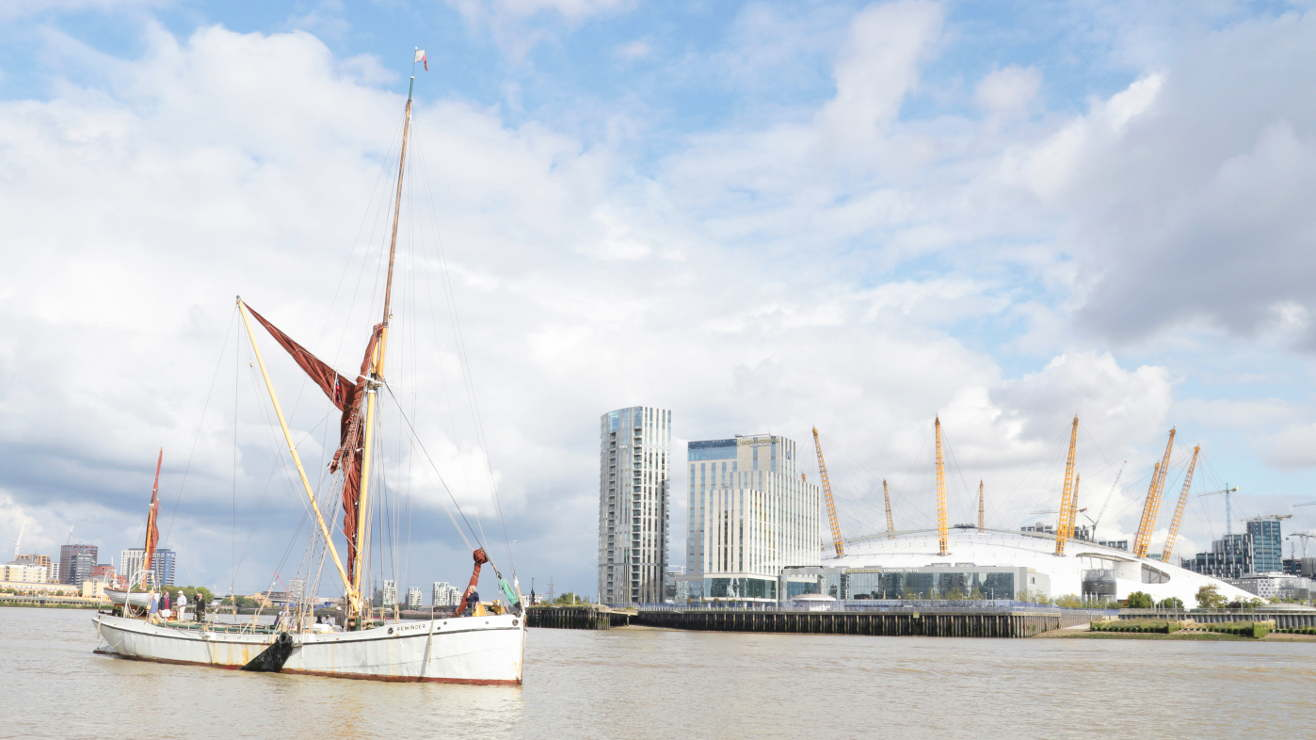 Sailing Barge Reminder waiting to reenter West India Docks to become part of the live popup Museum. — Picture by Jonathan Fleming (charityneeds.com)
